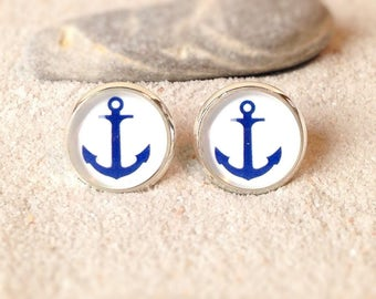 Earring anchor blue
