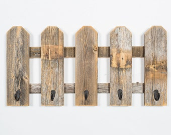 Barnwood Fence With Hooks Made From Reclaimed Wood