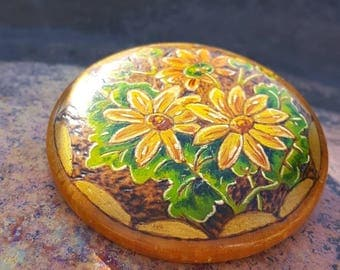 Vintage hand painted wooden brooch. Floral and detailed