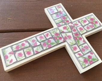 Mosaic cross with carnation design