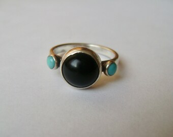 vintage onyx and turquoise sterling ring, RLM studios, size 8