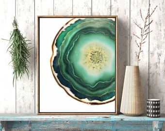 Geode Art Print,  Green Agate Crystal Print, Jade Green Decor, Agate Slice, Mineral Poster, Agate Poster, Yoga Studio, Dorm Room Decor