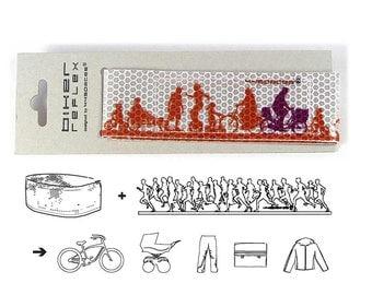 Biker reflective leg strap dark orange - cycling accessories Scapes Reflex Ribbon - Biker Skyline in vibrant dark orange