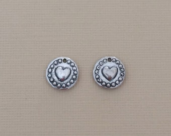 Sterling Silver Heart Disc Charm, Dainty Charms, 925 Silver Charms, 1 pc