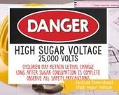 DANGER High Sugar Voltage Construction Party Printable - Printable Construction Party Sign - Printable Construction Sign - Instant Download