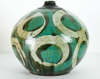Mid Century Studio Pottery Kypridakis Pot Vase Turquoise Blue Green 1960s Signed