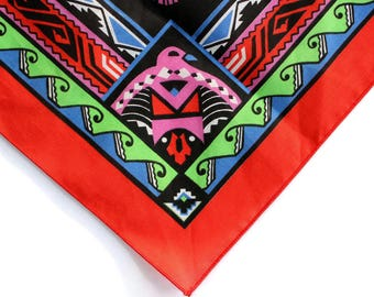 Colorful Vintage Wamcraft Native American Inspired Bandanna Made in the USA Thunderbird
