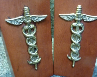 vintage wood bookends mid century modern bookend medical bookends caduceus