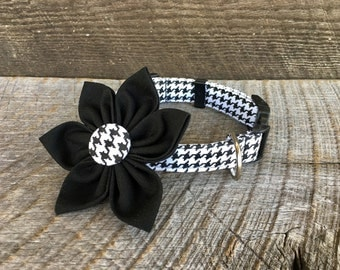 Black & White Houndstooth Fabric Flower Accessory