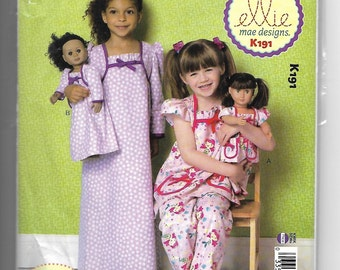 K191 Kwik Sew Loungewear Sewing Pattern for Girls Sizes 3-10 and 18 Inch Dolls