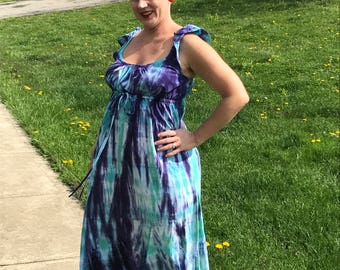 Size large rayon sundress in purple and aqua