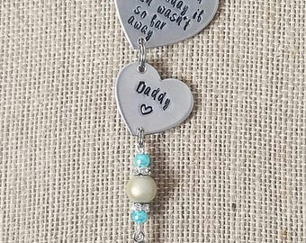 Bridal Bouquet Charm- Hand Stamped- Bride Accessories- In Memory- Loss- Wedding Memorial- Personalized Wedding- Remembrance- Something Blue