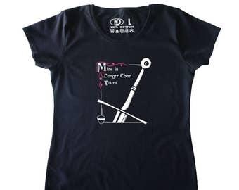 Long Sword Medieval Design Women's Ladies T Shirt Mine is Longer Than Yours