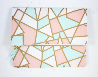 Geometric Gold Clutch, Clutch Purse, Handbag, Gift For Her, Birthday Gift, Bridesmaids Gift