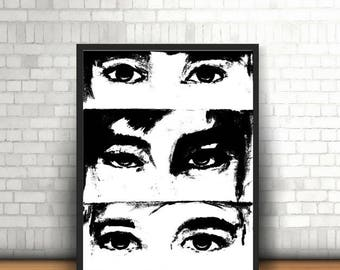 Black and white Eyes Watercolor Print Poster