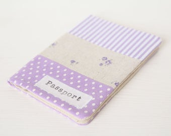 Zakka style passport cover - holder in stripes, dots and roses light purple fabric
