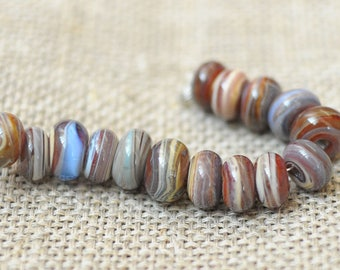 Lampwork Beads small beads Rondelle Spacers Handmade Glass Lampwork Beads - 15 Beads Set