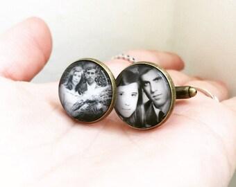 18mm Personalized Photo Memory Cufflinks, Vintage Style Cufflinks, Wedding, Anniversary, Birthday, Groomsmen Keepsake, Wedding Charm