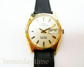 Caravelle Set-O-Matic Bulova Men's Watch 1977 Swiss Made 7 Jewel Electronic Movement