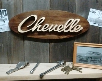 Chevrolet Chevelle Script Emblem Oval Wall Plaque-Unique scroll saw automotive art created from wood.