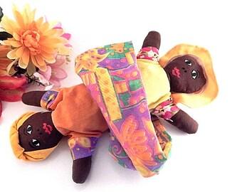 Rag Doll Topsy Turvy Reversible Black Jamacian Woman Flip Doll Folk Art Jamaica Travel Souvenir Caribbean Island Decor