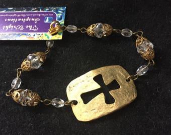 Open cross crytal bracelet