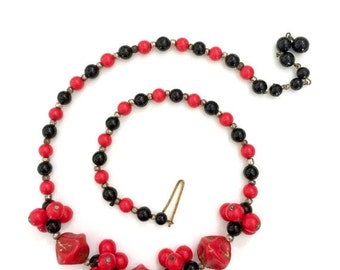 W Germany Four Strand Plastic Beaded Necklace By