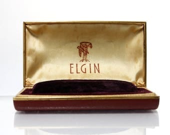 Vintage Elgin Watch Box Red Leather