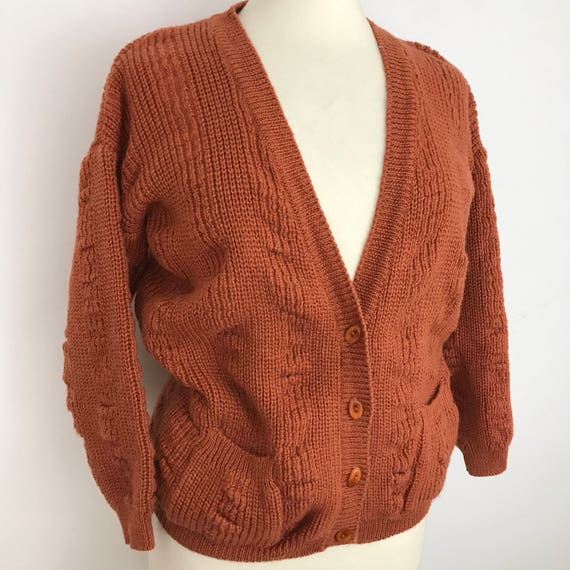 Vintage pure wool cardigan chunky knitted sweater V neck jacket knit wide sleeve boho wool orange brown rust red St Michael