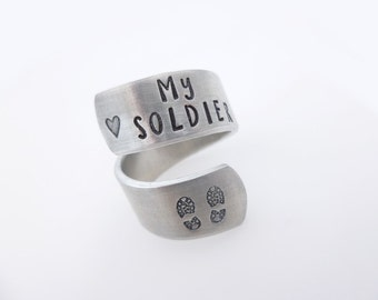 Military Jewelry Gift - I Love my soldier Military Army Wife Girlfriend Mother - armed forces - handstamped silver adjustable twist ring