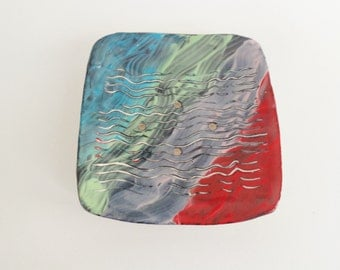 Multicolor rustic square ceramic soap dish, handmade pottery soap holder
