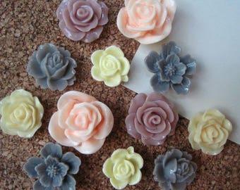 Push Pins, 12 pcs Flower Pushpins, Soft Pastels, Small Gifts, Office Supply, Bulletin Board Tacks, Wedding Decor, Housewarming Gift