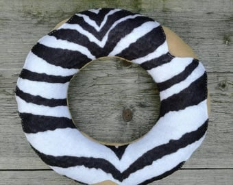 Chocolate Donut pillow / cuddly toy / softie with icing -  Soft zebra striped chocolate donut pillow