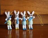 Miniature Rabbit Ornaments - Bunny Rabbit Musician Figurines - Vintage Easter Decor - Wooden Rabbit Figurines - Wood Bunnies