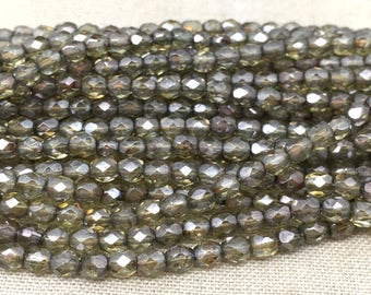 50 Translucent Green Picasso Czech Glass Beads Faceted 4mm