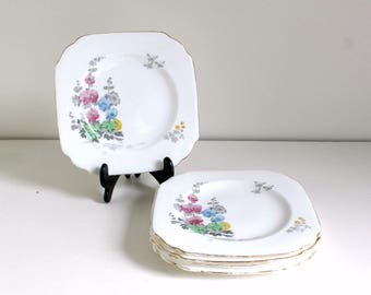 Vintage Side Plates, Vintage Floral Plates, 1930s Plates, Hand Painted Plates, Afternoon Tea, Wedding Tableware, New Chelsea Alicia