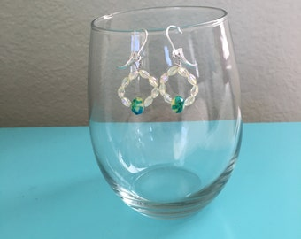tie dye bead and pale yellow faceted bead round earrings on sterling silver leverback ear wires