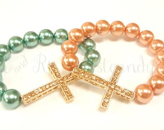 Beaded Bracelet, Cross Bracelet, Women's Bracelet, Handmade Jewelry, Handmade