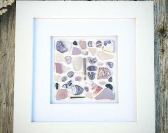 Lavender treasure frame// Sea glass art