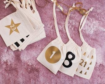 Set Of Modern Christmas Advent Calendar Cotton Bags - Christmas Advent Calendar - Christmas Countdown Calendar - Hanging Advent Calendar