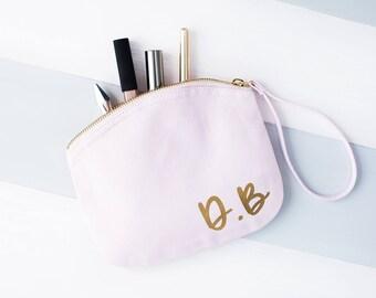 Personalised Initials Pastel Makeup Bag - Initials Makeup Bag - Monogram Makeup Bag - Cosmetic Bag - Toiletry Bag - Pastel Wash Bag