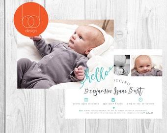 Digital announcement card   New born baby   Announcement Card   Digital Print   Photo card   Baby born   New born   New born card