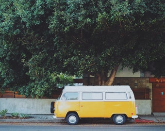 "California Photograph, Yellow Vintage Campervan, Travel Photography, Wall Art 8"" x 10"""