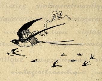 Girl Riding Swallow Bird Graphic Printable Download Cute Digital Image Vintage Clip Art Jpg Png Eps Print 300dpi No.3821
