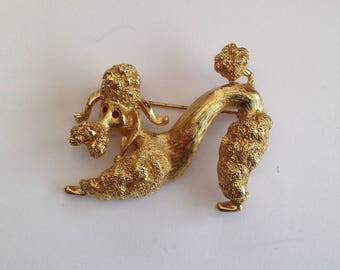 Vintage Monet Gold Tone Poodle/Dog Brooch.