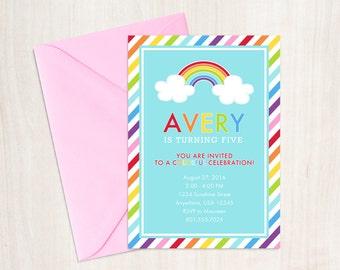 Rainbow Party Invitation - Rainbow Printable Invitations - Rainbow First Birthday Invitation - Rainbow Invitation Printable File