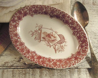 Vintage / Antique Brown Aesthetic Transferware Small Oval Dish / Copeland / England / Trinket Dish / Soap Dish