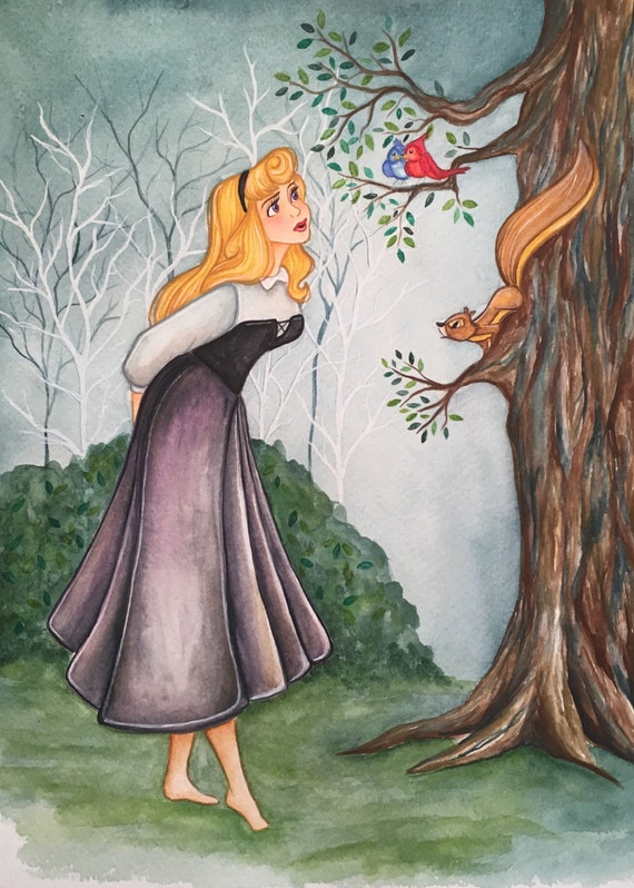 briar rose aurora sleeping beauty watercolor painting
