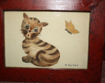 Theorem Folk Art Cat by Millie Geiter with Hand Crafted Frame