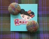 Tweed Button Earrings - B...
